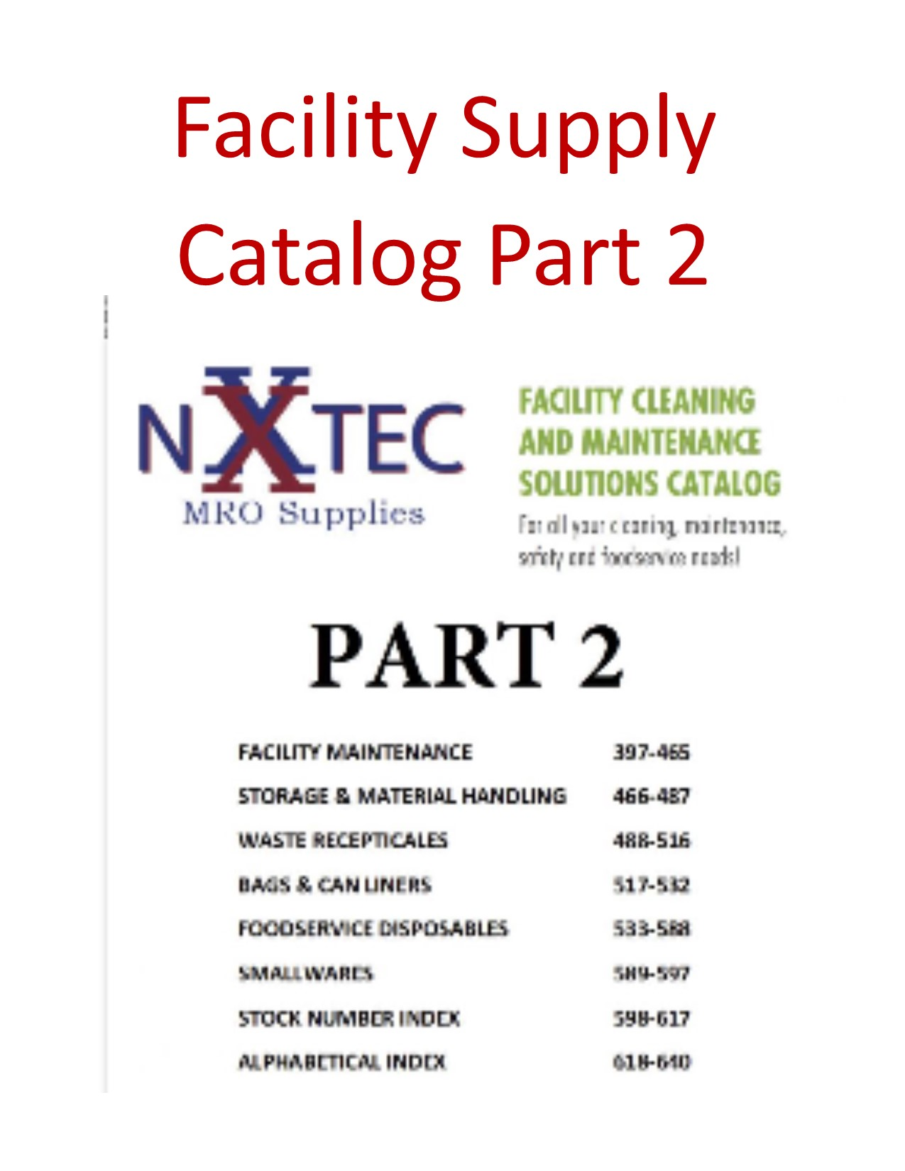 Facility Supply Catalog Part 2